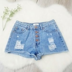 Forever21 Button Front Distressed Jean Shorts